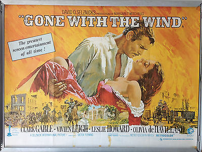 Cinema Poster: GONE WITH THE WIND 1939 (1969 RR Quad) Clark Gable
