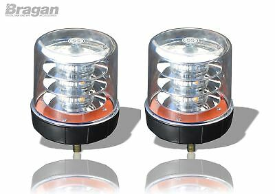 2x Clear Lens Amber LED Strobe Flashing Beacon Recovery Truck Bolt