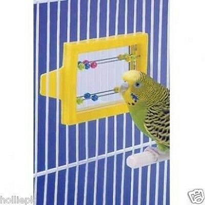 Mirror & Beads Budgie Canary Bird Abacus Toy Hooks To Cage Moving Beads