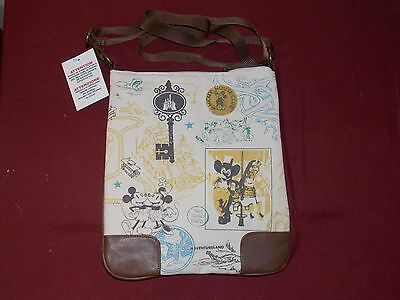 Authentic Disney Parks Mickey & Minnie Sketched Attractions Crossbody Bag Purse