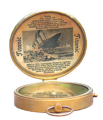 Antique Nautical Titanic Compass Pocket Magnetic Instrument Camping Pocket Gift