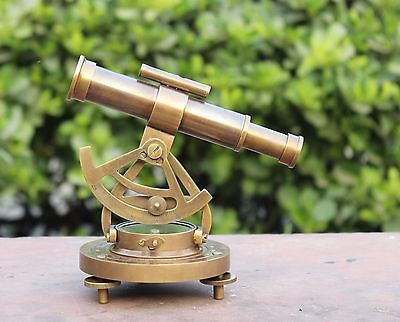 "Nautical Antique Alidade Compass 7"" Telescope Wooden Base Marine Navy Gift Item"