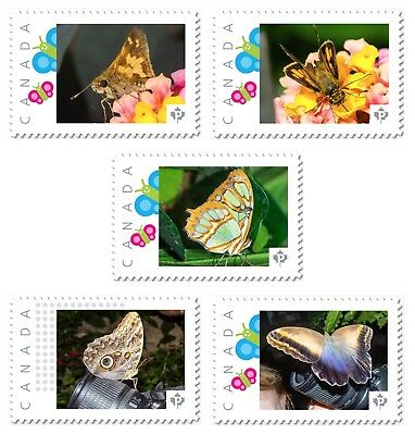 BUTTERFLY, MOTH set of 5 UNIQUE Picture Postage stamps MNH Canada 2017 p17-05bt5