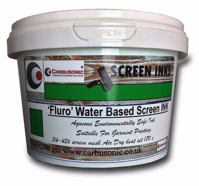 Screen Printing Ink Water Based Air Dry Heat Set, T-Shirt, Fluorescent green.