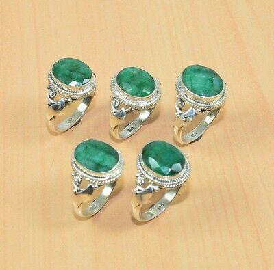 Wholesale 5Pc 925 Solid Sterling Silver Natural Green Emerald Ring Lot