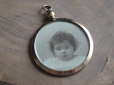 Large Victorian Rolled Gold Double Photo Locket Pendant Fob