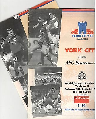 York City v Bournemouth 1995 - 1996 December & March issues