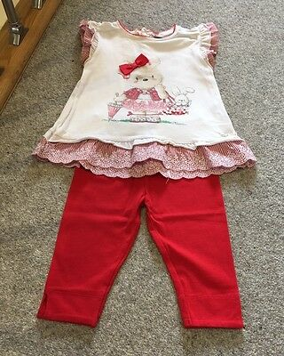 Mayoral Baby Girl Teddy Top And Red Legging Set 24m 2 Years Playwear