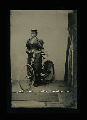 Antique 19thc Tintype Photo African American Black Lady with her Bike / Bicycle