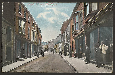 Wales. Cardiganshire. High Street, Cardigan. Men Stood By. 1906 Posted Postcard
