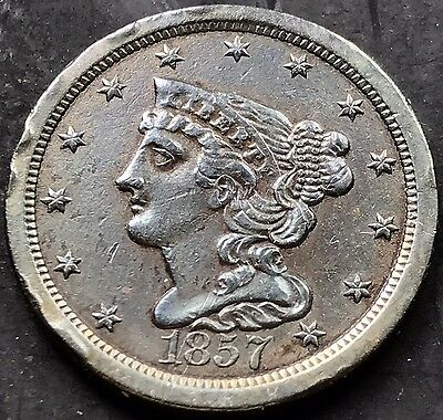 1857 Braided Hair Half Cent nice coin Better Grade XF AU 1/2 Cent 5221