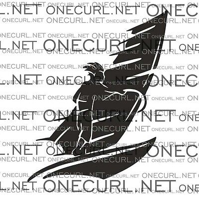 Windsurfing sticker, windsurfer car decal, black and white,OneCurl