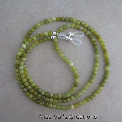 Handcrafted green jade reading eyeglass chain holder 29.5 inch lanyard silver