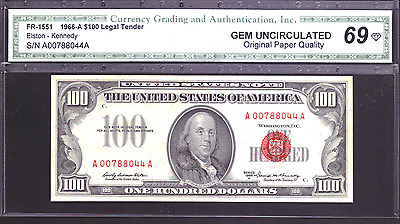 FR-1551 1966-A $100 Legal Tender Note GM Uncirculated