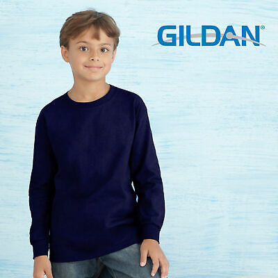 Gildan Kids Long Sleeves Tee | Children Plain Cotton T-Shirt | Size S-XL