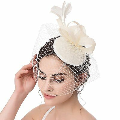 AbaoWedding Fascinator Bow Feather Wedding Party Headwear Bridal Hat Ivory
