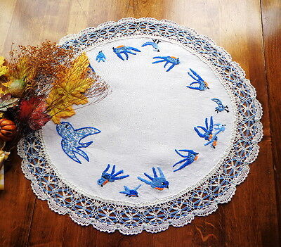 Naive Hand-embroidered Linen Tablecloth - AMERICAN FOLK ART Blue Birds Charming!