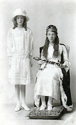 Beltane Queen & Maid Peebles used RP old postcard by Knaught & Son