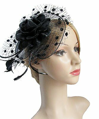Fascinators with Veil Flower Cocktail Tea Party Easter Hats Derby Headwear for