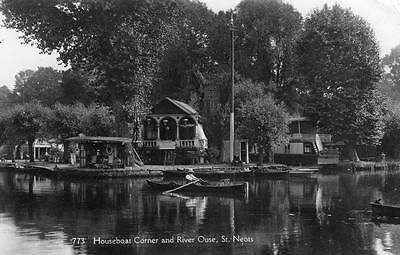 Houseboat Corner River Ouse St Neots RP pc used 1937 Nene Series