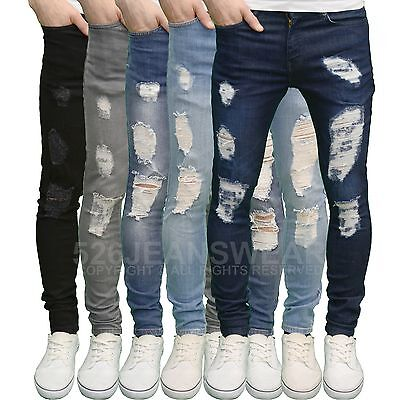 7595189bc3ad Enzo Men's Designer Stretch Super Skinny Fit Distressed Ripped Jeans BNWT