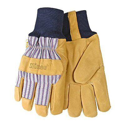 KINCO 1927KW-L Men's Lined Grain Pigskin Gloves, Heat Keep Lining, Knit Wrist, L