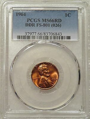 1964 PCGS MS66RD Lincoln 1c - FS-801, Top Pop, 6/0 DDR, Doubled Die Reverse