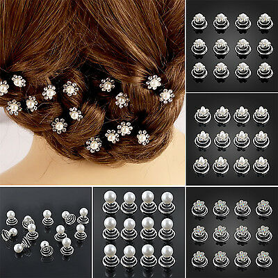 12x Crystal Diamante Hair Pins Wedding Bridesmaid Prom Party Clips Grips Best