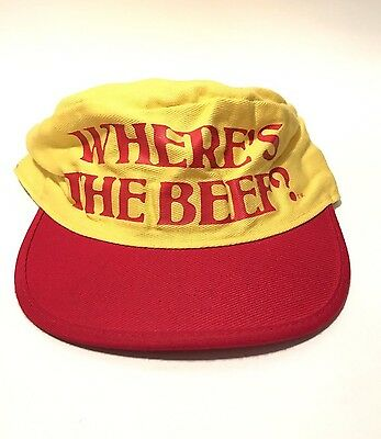 Vintage 1984 Wendy's Where's The Beef Hat Yellow Red Painter's Cap Employee