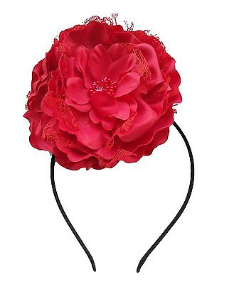 Removable Fascinators Hair Clip Head Hoop Headband Brooch Lace Flower Derby Red