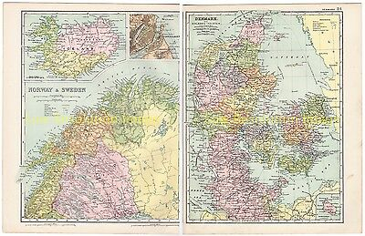 Denmark, Norway, Sweden - Bacons Antique Colour Map 1910 With Iceland Inset