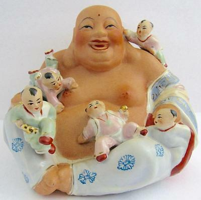 **wonderful** Happy Buddha & Five Children - Famille Rose - Excellent Condition