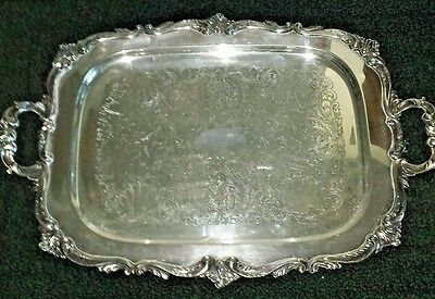 "Vintage Silverplate Double Handle Footed Serving Tray 24 1/2"" X 16 1/4"" X 1"""