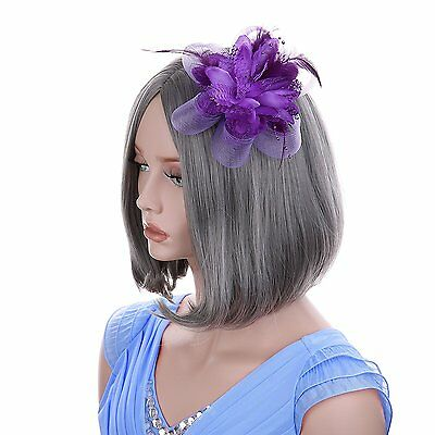 VGLOOK Flower Feather Fascinator Headband Wedding Headwear For Ladies Day Race