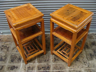 Pair Antique Chinese Blond Rosewood Tables Occasional  or End Table Set Pair