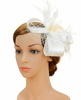 Tea Party Hair clip Kentucky Derby Fascinator Hat for Women Feather Headpiece