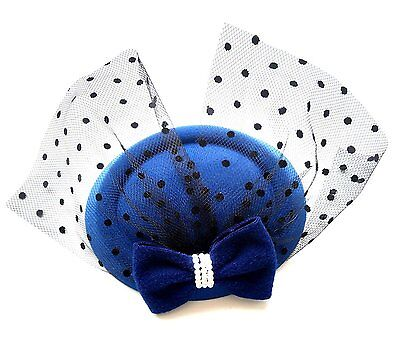 Womens Fascinators Hat Pillbox Hat Cocktail Party Hat with Veil Hair Clip Royal