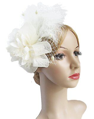 Womens Fascinators Hat Hair Clip Feather Wedding Headware Bridal 1920s Headpiece