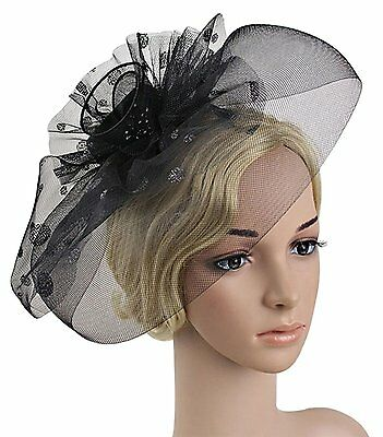 Z&X Womens Beaded Flower Veil Fascinator Bridal Cocktail Party Hair Clip Hat