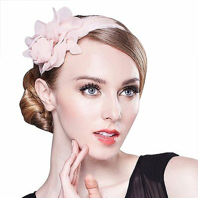 Womens Flower Feather Accent Sinamay Fascinator Headwear Pink