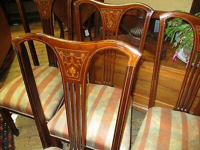 Antique Set Of 4 Mahogany Edwardian Dinning Chairs