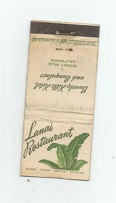 Lanai Restaurant   Matchcover  Beverly Hills Hotel and Bungalows