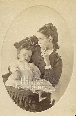 1870s cdv photo young mother holding post mortem child