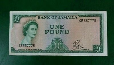 BANK OF JAMAICA £1 ONE POUND BANKNOTE ND 1961 P51Ca VF+