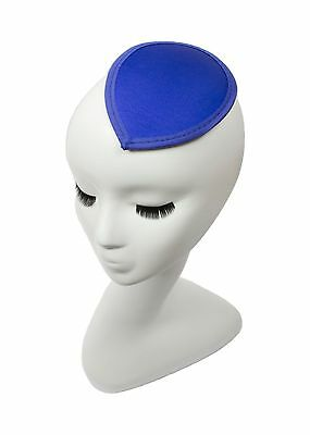 Blue Satin Teardrop Fascinator Millinery Hat Base with Clips - 12 Colors