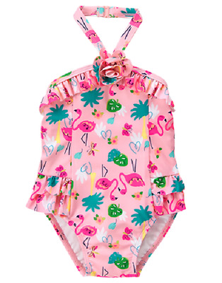 Gymboree Pink Flamingo Tropical Print One-Piece Swimsuit Toddler Girl 2T NEW