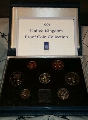 1991 Royal Mint United Kingdom Standard Proof coin collection blue case