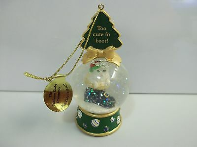 "Danbury Mint CAT ""Too Cute To Boot"" SNOW GLOBE Xmas CHRISTMAS ORNAMENT Free Ship"