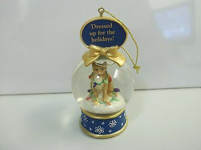 Danbury Mint CAT Dressed Up For The Holidays SNOW GLOBE CHRISTMAS Xmas ORNAMENT