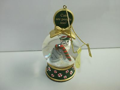 Danbury Mint CATS Are People Too / Candy Cane SNOW GLOBE Xmas CHRISTMAS ORNAMENT